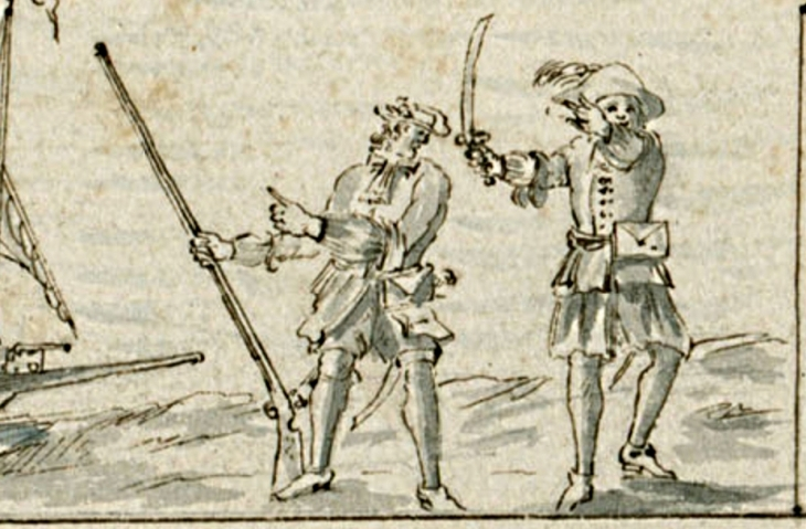 A pair of flibustiers or buccaneers at Petit Goave, 1688, from a chart by P. Cornuau. (Courtesy of the Archives Nationale d'Outre-Mer.)