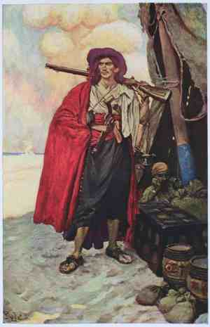 Romantic, largely imagined painting of a buccaneer. From Howard Pyle's Book of Pirates.