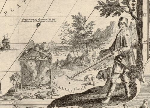 Boucanier depicted in Nicolas De Fer's 1698 map L'Amérique. (Courtesy of the Bibliothèque Nationale de France.)