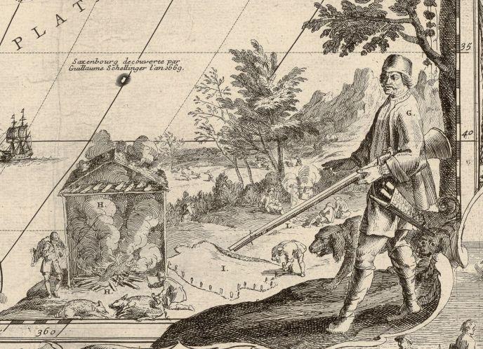 Boucanier depicted in Nicolas De Fer's 1698 map L'Amérique. (Courtesy of the Bibliothèque Nationale de France.)
