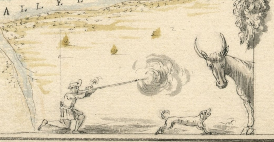 Boucanier firing his fusil boucanier at a wild cow or bull, from a 1685 map of Cap Francois by Cornuau. (Courtesy of the Bibliothèque Nationale de France.)