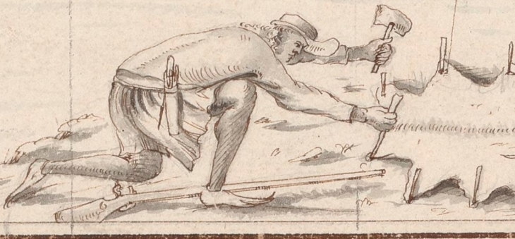 Boucanier staking a hide to dry, from a chart of Léogane by Paul Cornuau, 1685. (Courtesy...