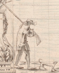Boucanier carrying a pig carcass at Léogane, from an illustration by Cornuau, 1685. Courtesy of the ????