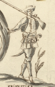 Flibustier from a chart of Le Cap Francois on Saint-Domingue, 1686, by P. Cornuau.