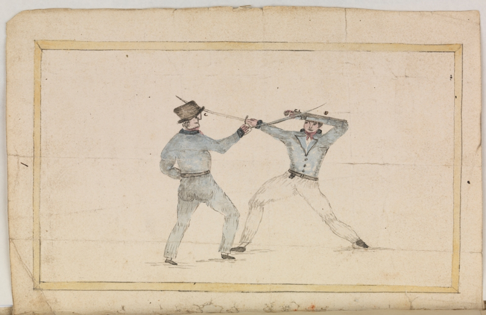 W.P Green papers. Sword fighting, plate 1 opposite page 22.  JOD/48