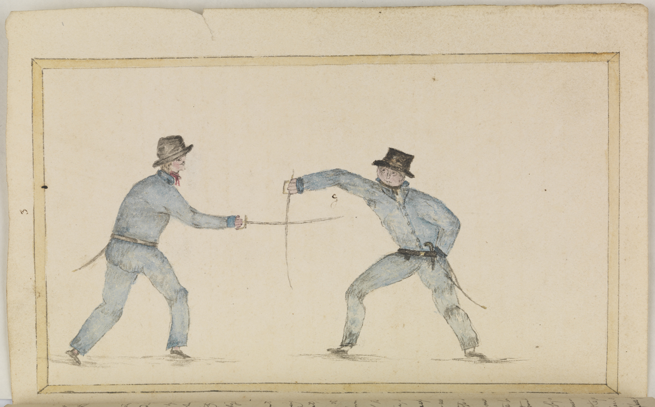 W.P Green papers. Sword fighting, plate 3 opposite page 26.  JOD/48