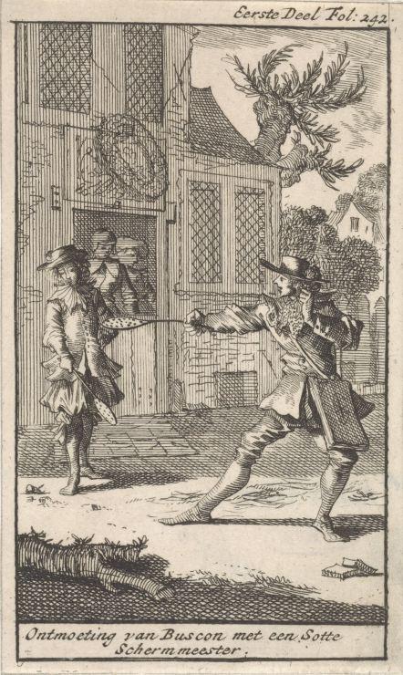 Don Pablo El Buscon ontmoet een schermmeester, Caspar Luyken, Jan Claesz ten Hoorn, 1699