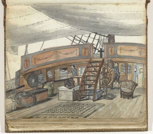 Dekzicht van een Oostindiëvaarder met stuurman aan het roer Jan Brandes 1779 to 1787