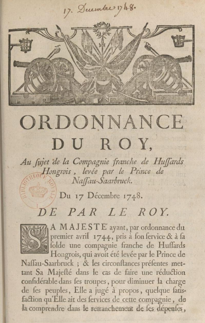 Ordonnance du Roy