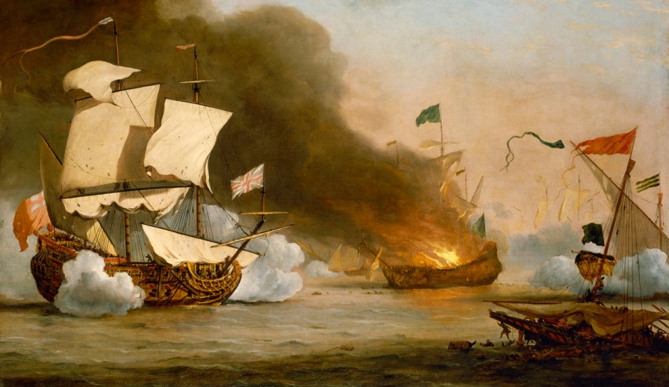 An English ship in action with Barbary Corsairs circa 1680